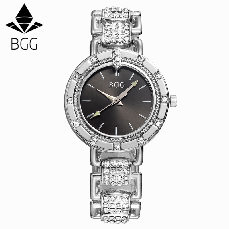 BGG Brand Women steel dress watches ladies Luxury simple Casual quartz watch relogio feminino female rhinestone gold clock hours famous brand sinobi women leather dress watches ladies luxury casual quartz watch relogio feminino female rhinestone clock hours