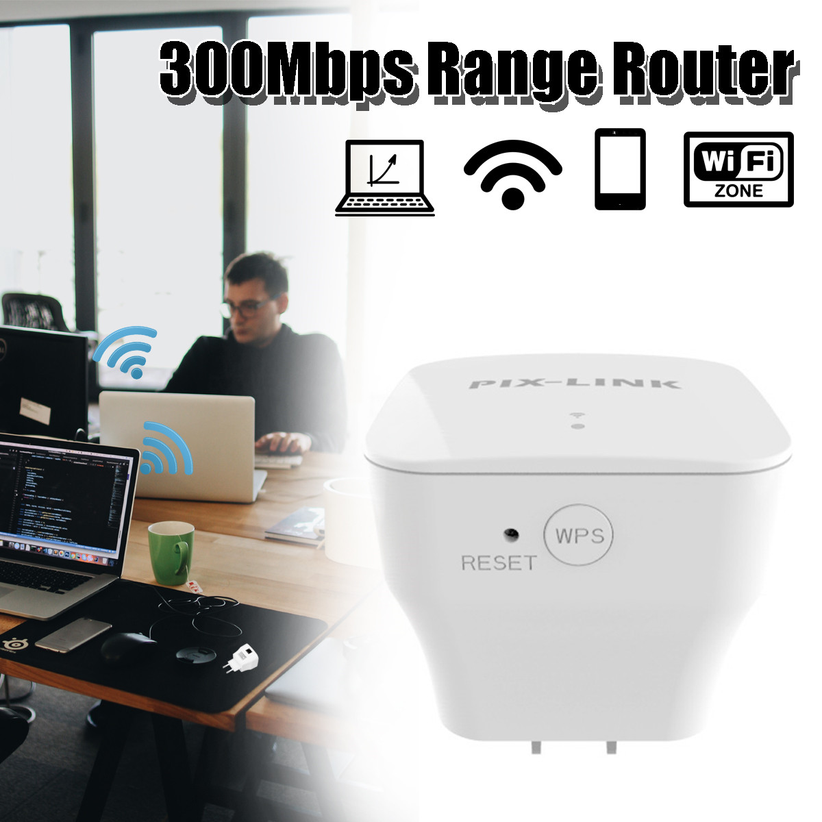 LEORY 300Mbps Wireless WiFi Repeater 2.4G Router Signal Booster Extender Amplifier US/EU/UK/AU Plug for Travel Office Home