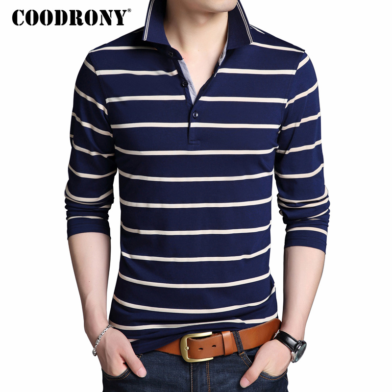 COODRONY   T     Shirt   Men Brand Clothes 2018 Autumn New Long Sleeve   T  -  Shirt   Men Cotton Tee   Shirt   Homme Casual Striped Tshirt Top 8614