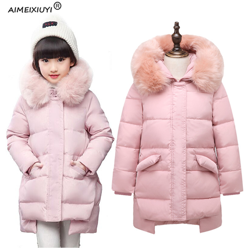 2017 Winter Girls Down Jackets Coat Russia Children Faux Fur Collar Thick Warm Duck Down & Parkas Outerwear Kids Clothes 5-11Y стоимость