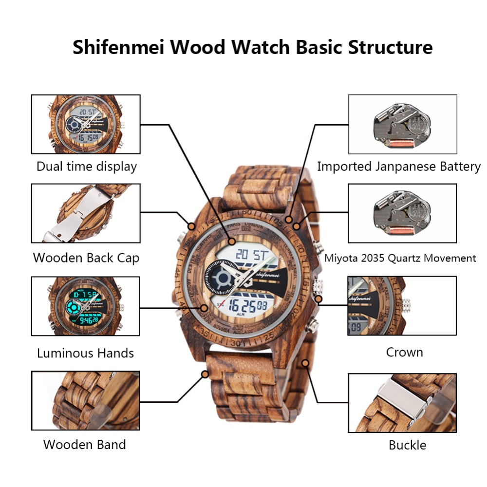 top luxury brand Shifenmei 2139 Antique Mens Zebra and Ebony Wood Watches with Double Display Business Watch in Wooden digital quartz watch drop shipping 2019 (12)