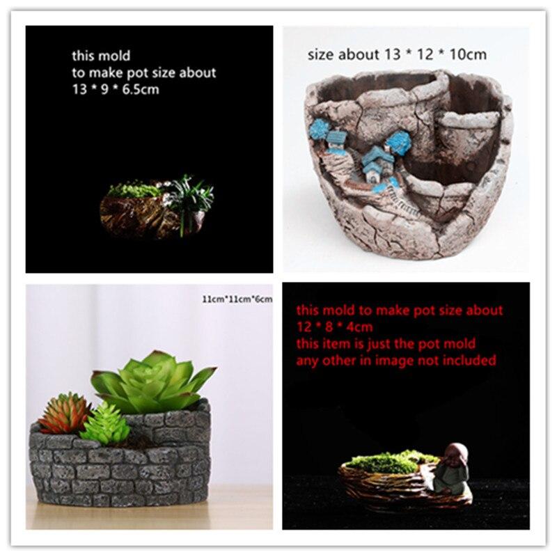 Stone Style Retro Creative Gardening Decoration Concrete pot making silicone molds Cement flowerpot vase mold