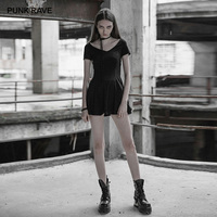 PUNK RAVE Women's Gothic Daily Bandage Backless Knit Dress Punk Personality Party Club A line Sexy Ladies Dresses