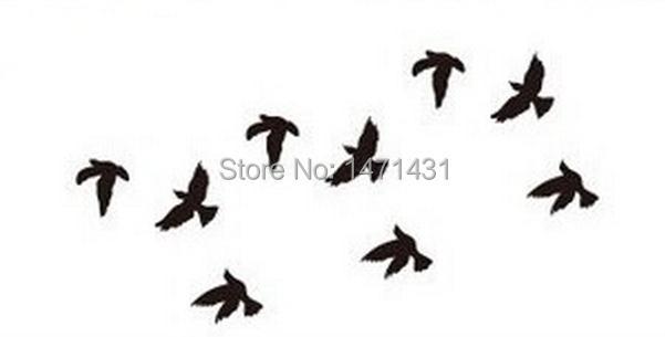 black loney birds tattoo temporary tattoo stickers temporary body hip waist arm art supermodel. Black Bedroom Furniture Sets. Home Design Ideas