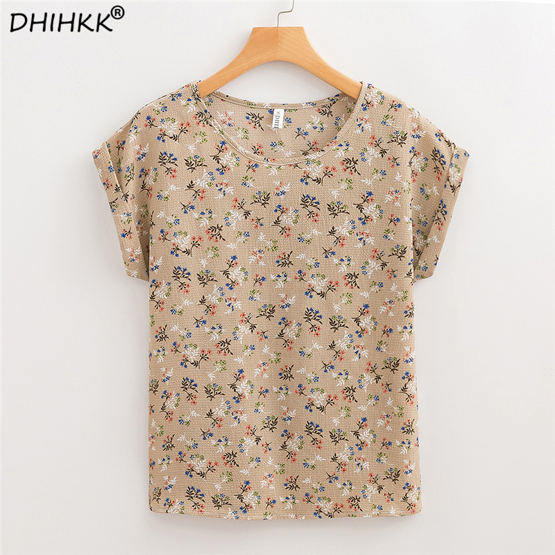 DHIHKK Women Blouses Shirts  2018 Summer Chiffon Floral Print Casual Short Sleeve O-neck Blouse Fashion Ladies Female Blusas