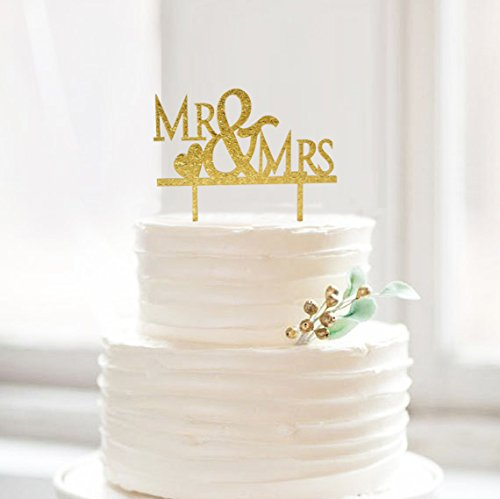 Cake Topper Gold Mr And Mrs