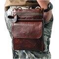 Sacos De homens 8 polegada Marrom prevenção Pacote de Cintura bolsa de ombro bolsa de couro de cera de Petróleo Do Vintage/Caso de Telefone Celular de Couro de Vaca Sacos do mensageiro