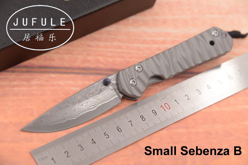 JUFULE New Small Sebenza 21 Damascus pattern blade titanium handle folding pocket camping hunt outdoor EDC