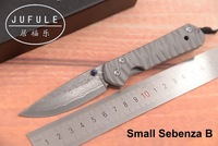 JUFULE New Small Sebenza 21 Damascus pattern blade titanium handle folding pocket camping hunt outdoor EDC tool kitchen knife