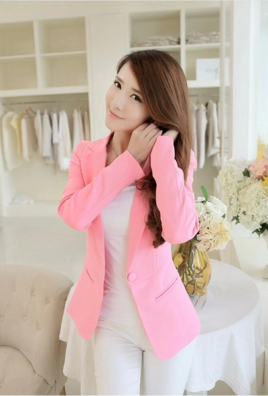 Women blazers and Jackets 2018 Spring Autumn long-sleeve Slim Fit Blazer Women shrug suit Jackets candy color office Suit Coat