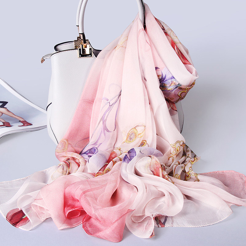 2018 Luxury 100% Silk   Scarf   Women Chiffon Shawls and   Wraps   for Ladies Pashmina Soft Oversize Real Silk Neckerchief   Scarves   Stole