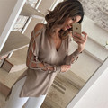 New 2017 Autumn European Style Women Sweater And Pullover Sexy Deep V-Neck Hollow Strapless Knitted Long-Sleeved Sweater C865