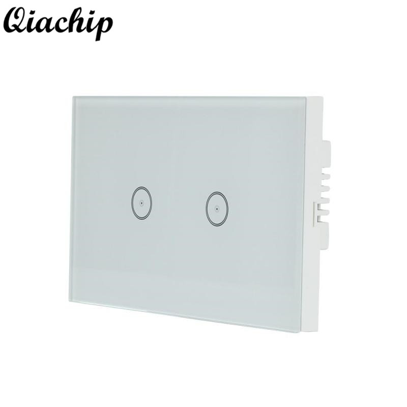 QIACHIP US Plug Version 2 Gang 2 Way Wifi Wall Sensor Touch Switch Work With Amazon Alexa Smart Home Remote Control On Off Touch 2017 free shipping smart wall switch crystal glass panel switch us 2 gang remote control touch switch wall light switch for led