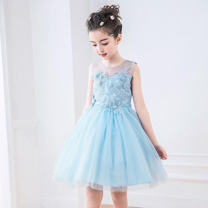 Summer 2018 Girls Party Dress Kids Blue Appliques Girl Vestido Festa Infantil 4 6 8 10 12 14 Years Old Girls Clothes RKF184028