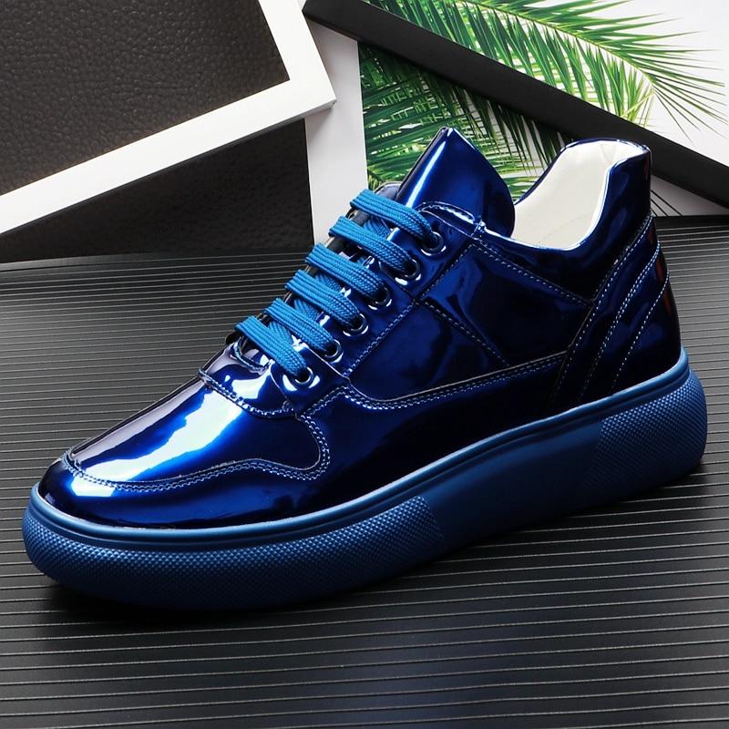Diseño Planos Cuero 43 2019 Moda azul Negro blanco Estilo Zapatos Patente Hombres De Casual Tamaño 38 Gran Los wY18xwqf