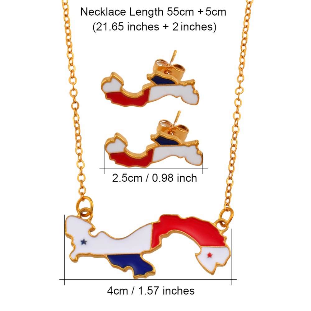 Anniyo Map of Panama Pendant Necklaces Earrings Jewelry Sets for Women Girls Panamanian Maps Jewelry Party Gift 136606 in Jewelry Sets from Jewelry Accessories