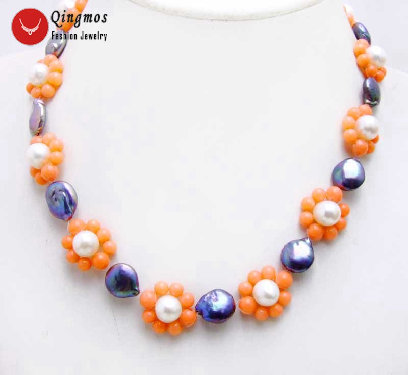 Qingmos Trendy Pearl Chokers Necklace for Women with Black Round Coin Pearl & Pink Coral Flower Handwork Weaving Necklace-6223