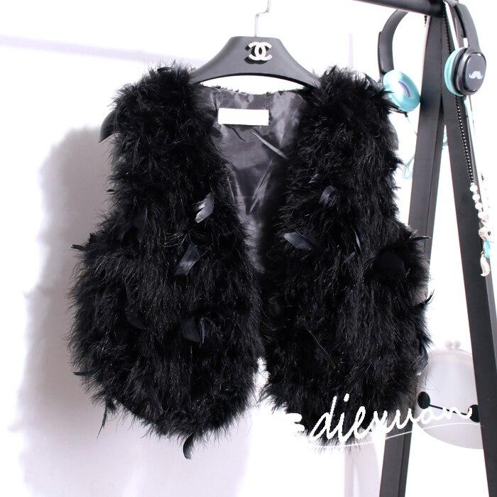 Filles adulte gilet design bébé chaud gilet fille veste vraie fourrure plume costume gilet mère reine taille vraie fourrure veste manteau - 3