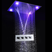 Shower System Concealed Recessed Ceiling Multiple Functions Rainfall Waterfall Shower Head And Brass Shower Diverter