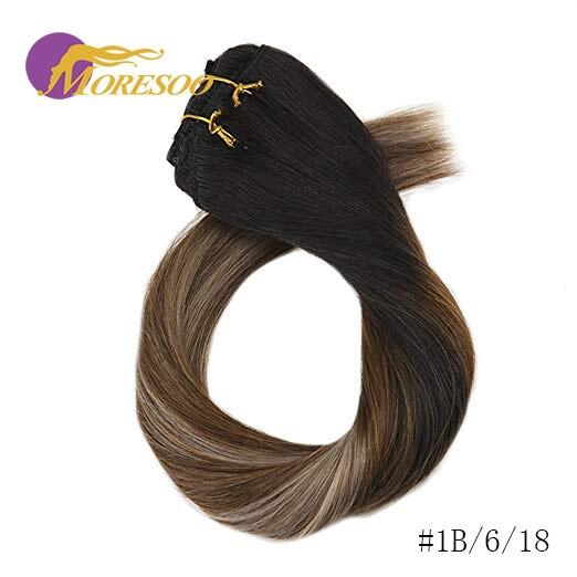 Moresoo накладные волосы Remy на заколках для наращивания, натуральные волосы с эффектом омбре, 7 шт., 100 г, набор на всю голову - Цвет: 1B-6-18