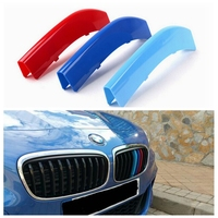 3D M Styling Car Front Grille Sport Trim Strips Cover Motorsport Power Performance Stickers Cap For