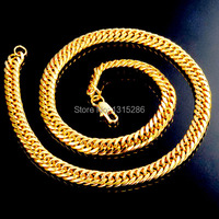 Luxury Big Heavy Necklace Chain Men S Classic Real 24K Yellow Gold Filled Royal Solid Necklaces
