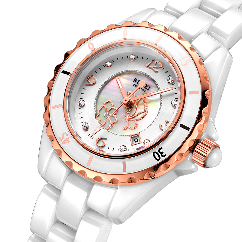 BUREI Women Ceramic  Watch Top New Brand Waterproof Date Display Clock White Lens Female Digital Wristwatches Hot Sale Women Day new forcummins insite date unlock proramm