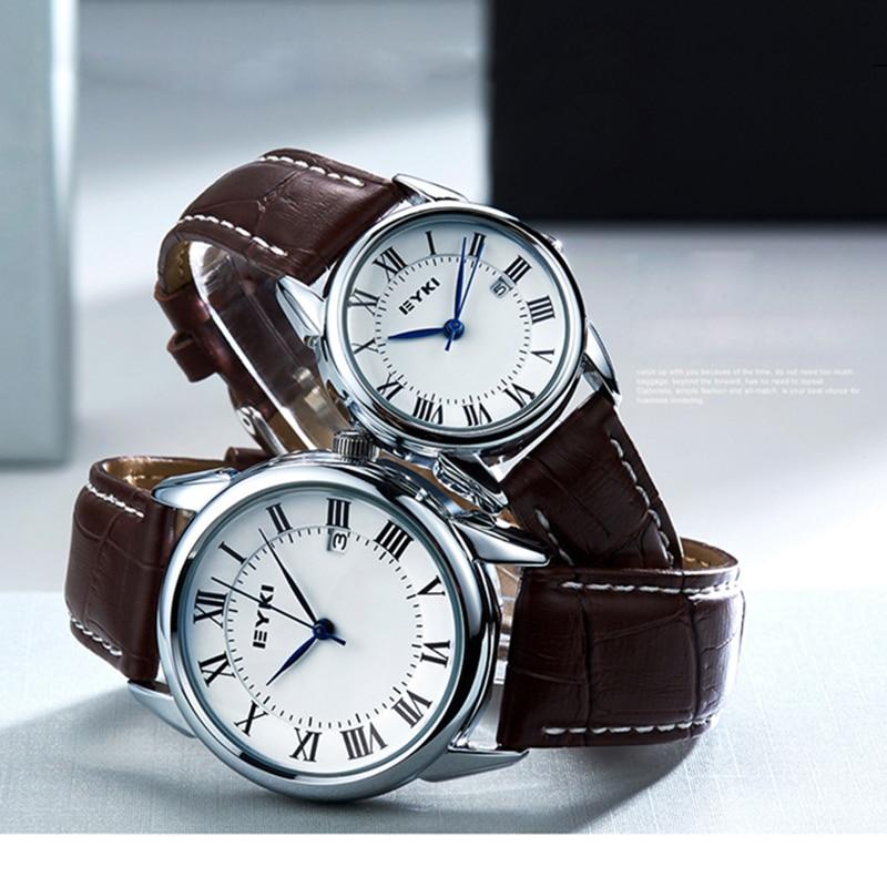 EYKI Brand Couple Watches Women Calendar Big Dial Quartz Watch Men Leather PU Waterproof Wristwatch Clock Relogio Reloj