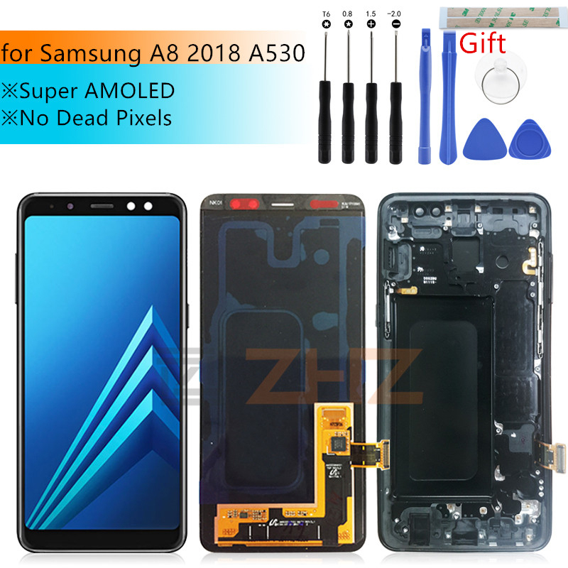 Super AMOLED For Samsung A8 lcd A530 2018 touch screen digitizer Assembly A530f A530N with frame