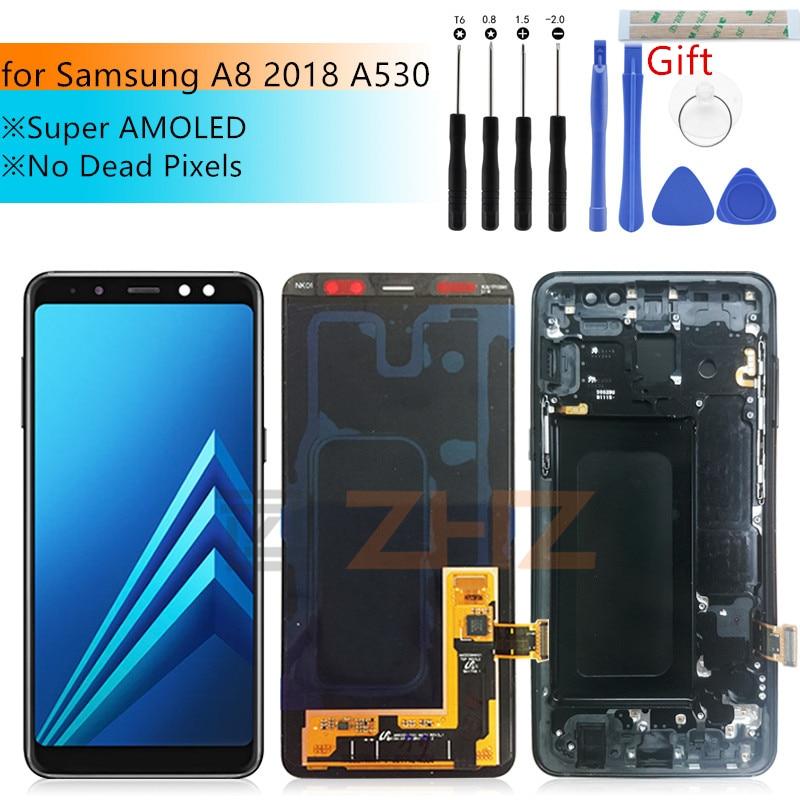 Super amoled para samsung a8 lcd a530 2018 tela de toque digitador assembléia a530f a530n com quadro scree peças reparo substituição