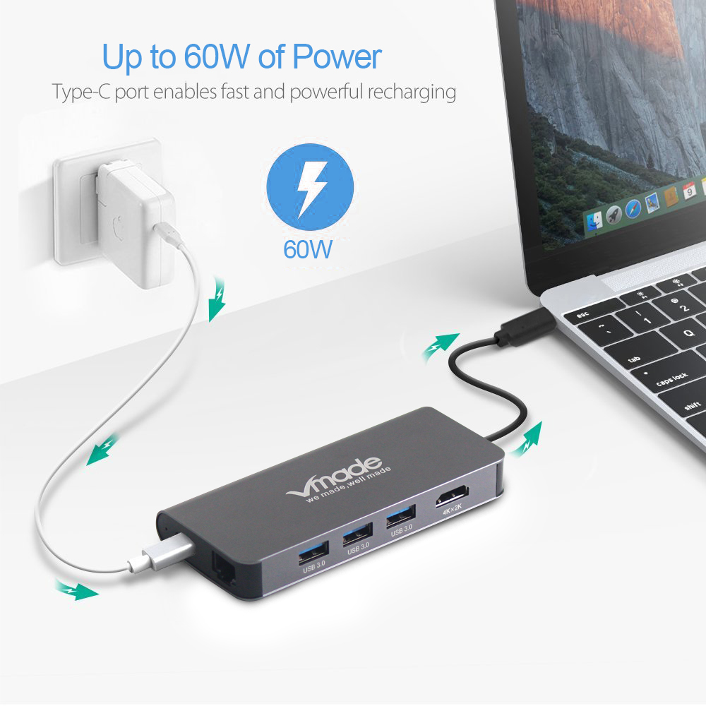 Image 5 - Vmade USB C 3.0 HUB Type C to HDMI Thunderbolt 3 Mini Adapter for MacBook Samsung Galaxy S9 Huawei P20 Type C 8 in 1 Converter-in USB Hubs from Computer & Office