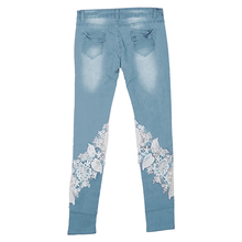 Low-Waist Lace Spliced Skinny Jeans