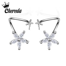 Chereda 1pc Europe And The United States Fashion Retro Flower Crystal ar Clip Earrings Punk Temperament Without Ear nations without states