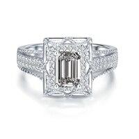 טבעת הנישואין moissanite 14 K זהב לבן 3.9CT אמרלד טבעת אירוסין כלה נישואים יהלומי מעבדה קלאסי תכשיטי יוקרה