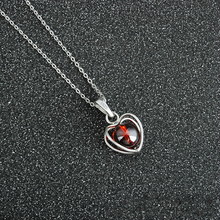 Trendy Korean Heart Shaped Clavicle Jade Pendant Necklaces Garnet Silver Precious-stone Beauty Jewelry Choker Gift For Women