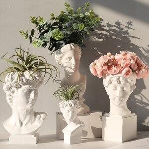Jarrón de arte creativo retrato Retro Venus cabeza resina maceta diosa griega estatuas florero de artesanía figuras de decoración del hogar