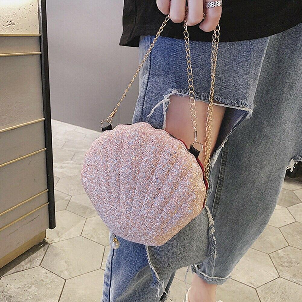 Women Girl Shinny Shell Bags Fashion Chain Sequins Tote Messenger Bags Lady PU Leather Handbag Cross Body Bag Shoulder Bag Purse