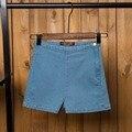 Tengo Мода Ретро Эластичный Высокой Талией Женщины Шорты Джинсовые Шорты для Женщин Сексуальные Рубашки Вскользь Короткие Джинсы 3 Цвета