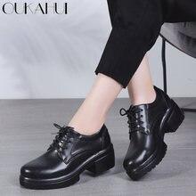 OUKAHUI 2018 Primavera de cuero de invierno negro plataforma plana zapatos  de mujer zapatos casuales de edf981bcf7f