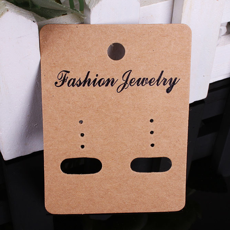 5x6.7cm Brown Paper Jewelry Earring Display Cards Packaging 200Pcs/lot Jewelry Cardboard For Custom Logo H059 image
