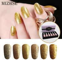 MIZHSE 3D Diamond Glitter Nail Gel Polish UV Gel Nail Lacquer Gold Sequins Nail Art Holographic Gel For Nail Manicure Set