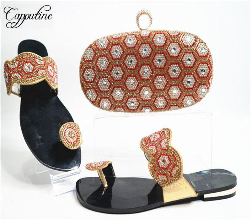 Capputine nouvelle africaine strass femme chaussures et sac à main ensemble Style africain bas talons chaussures et sac ensemble pour la taille de la fête 38-42 G20