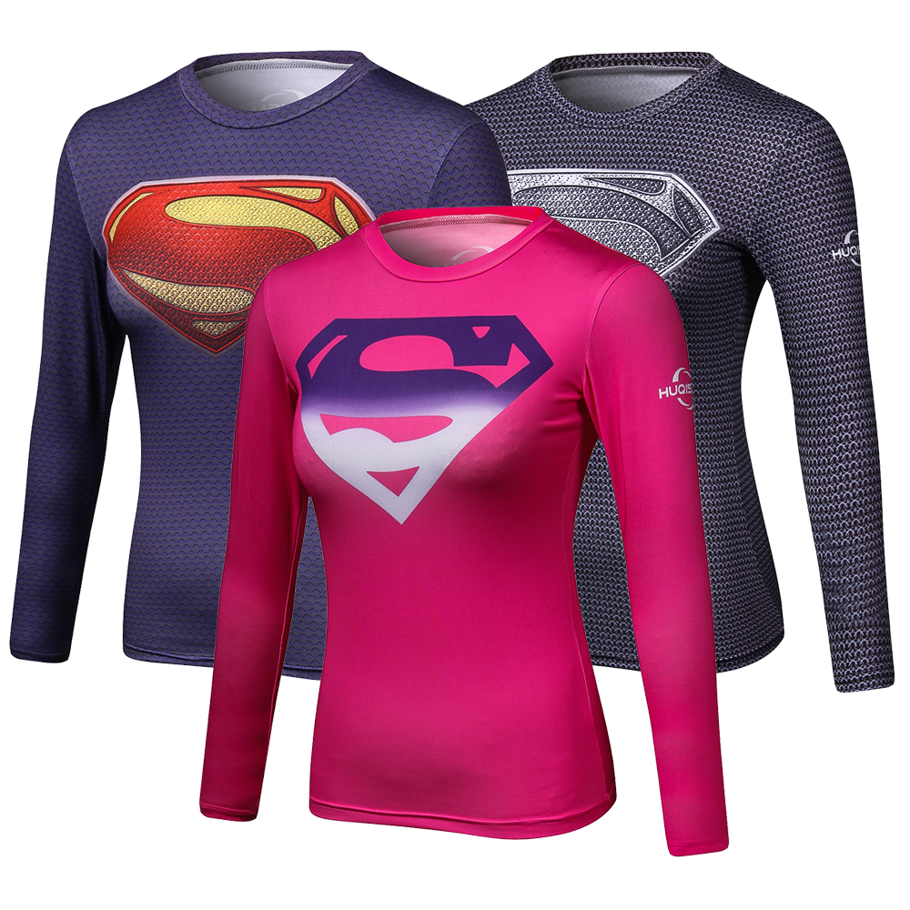 Compression Shirt Superman 3D Printed T Shirt Women Raglan Long Sleeve Cosplay Costume Quick Dry Fitness Slim Clothing Tops