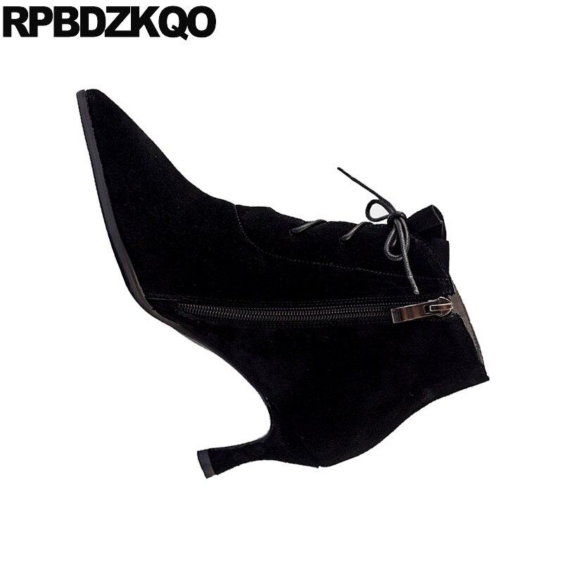 Tacón De marrón Botines Alto Zapatos Cuero Marca Gamuza Estrecha Negro Las Encaje Genuino Mujeres Piel Ladies Grande Punta Negro Tamaño Del Invierno B1TnwYaq