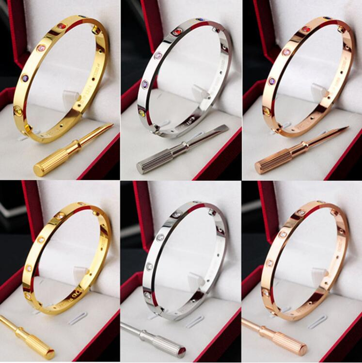 Bangles Screw-Bracelets Women Lovers Luxury Wedding-Gift with Pulseira 10-Stones