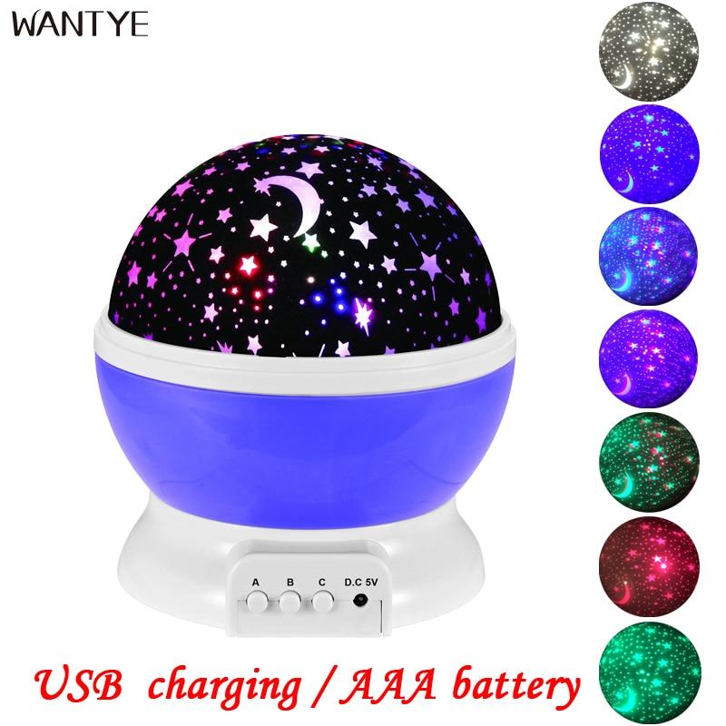 Wantye USB светодиодный ночник вращающихся Звездное небо Проектор Luminaria Новинка Настольная лампа светильник Лунная ночь для детей AAA батареи
