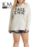 KM Kissmilk Plus Size New Fashion Women All Match Big Large Size Streetwear Autumn Letter Print