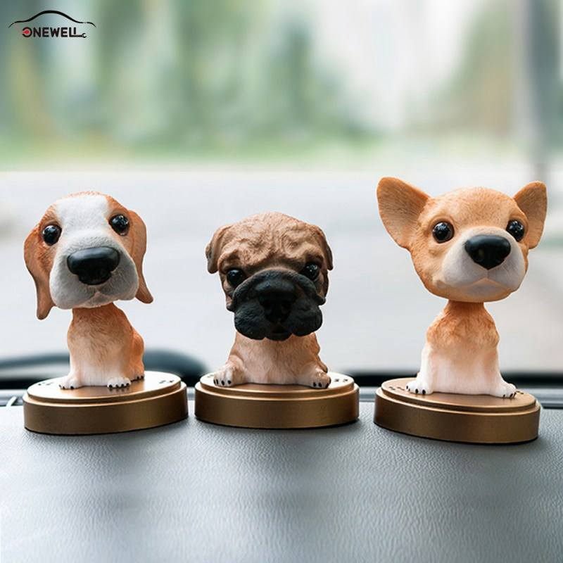 ONEWELL Animal Swinging Animated Bobble Toy Car Decoration Nodding Resin Puppy Dog Shakes Head Shaking Dog Car Accessories cute head shaking girl style toy for car decoration brown blue multicolored
