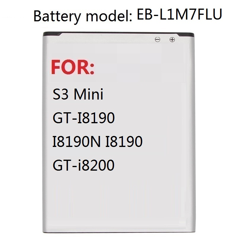 Replacement Battery EB-L1M7FLU For Samsung Galaxy S3 Mini S3Mini GT-I8190 I8190N I8190 GT-i8200 1500mAh image