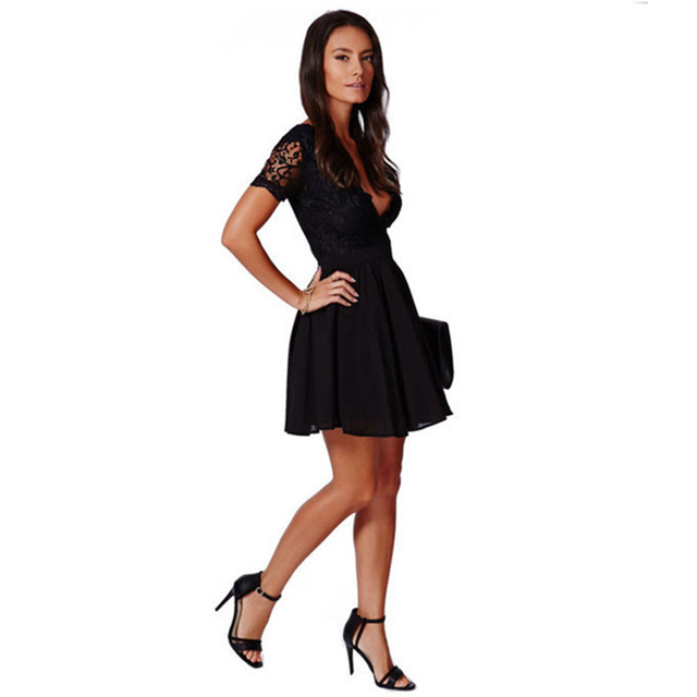 Summer Women's Black Sexy Deep V Lace Dress Fashion Chiffon Mini Party Dresses 2
